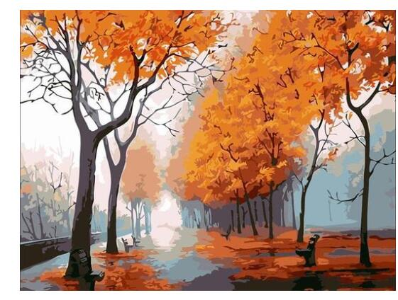 Attractive Autumn Leaves Scenery paint by numbers canvas for adults from paint pots