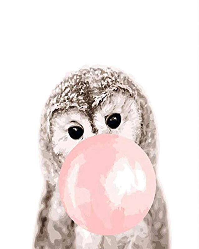 Baby Owl Bubblegum paint by numbers canvas for adults from paint pots
