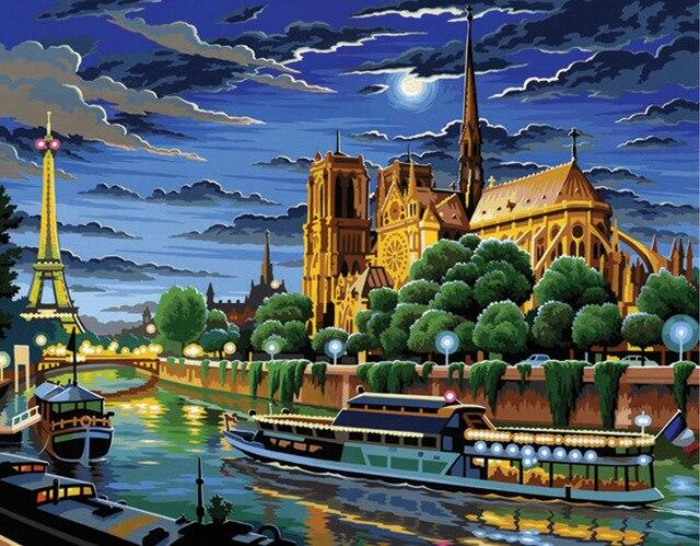 Beautiful Castle In Paris - Paint by numbers canvas for adults from paint pots