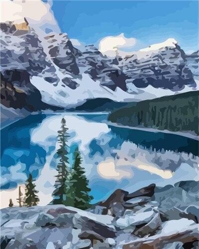 Beautiful Moraine Lake - Paint by numbers canvas for adults from paint pots