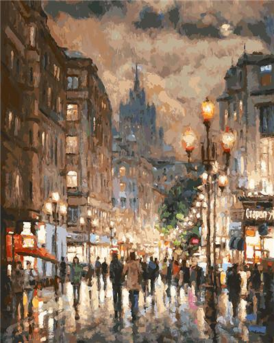 Beautiful Street View - Paint by numbers canvas for adults from paint pots