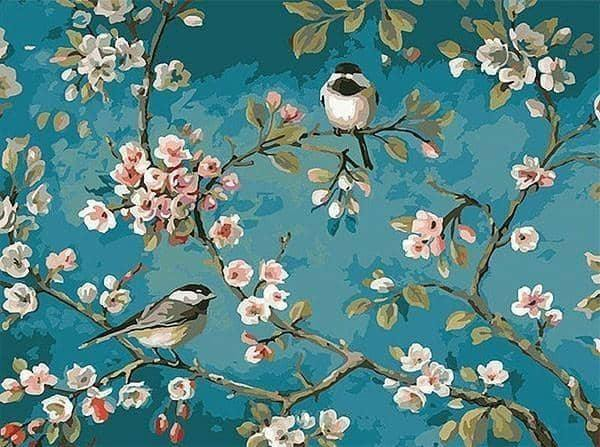 Birds on branches paint by numbers kits crafts by numbers