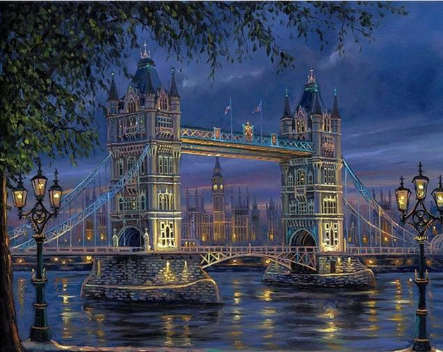 Bridge Of London Night - Paint by numbers canvas for adults from paint pots