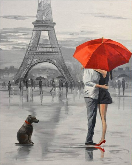 Paris couple under the rain with umbrella and dog  paint by numbers canvas for adults from paint pots