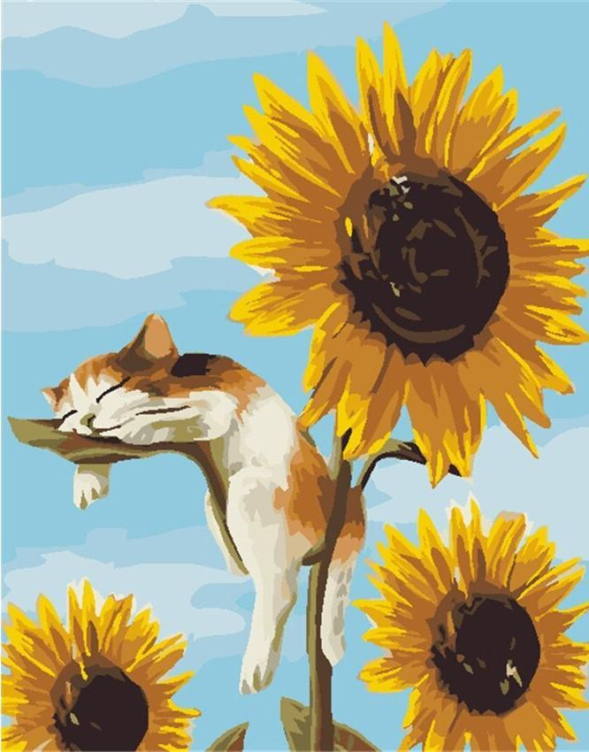 Cat Relaxing on Sunflower paint by numbers canvas for adults from paint pots