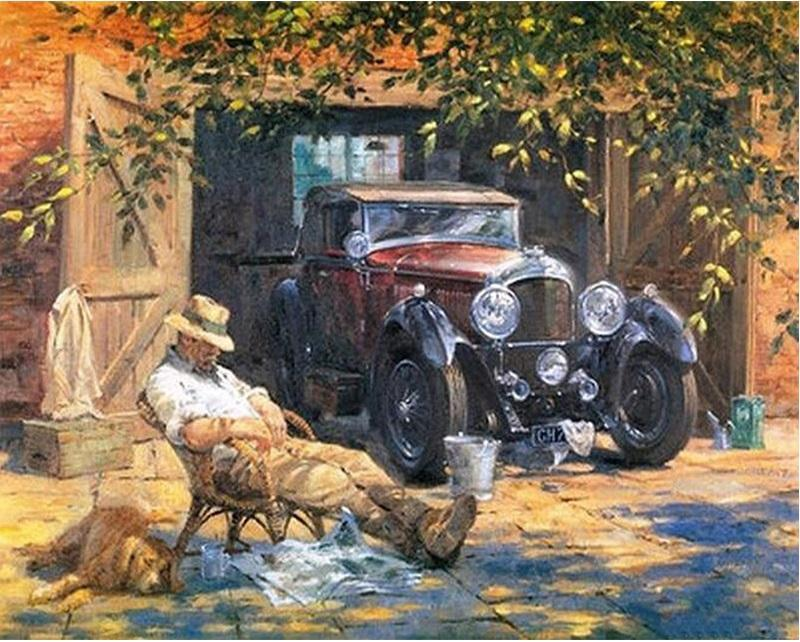 Classic Car & Old Man paint by numbers canvas for adults from paint pots