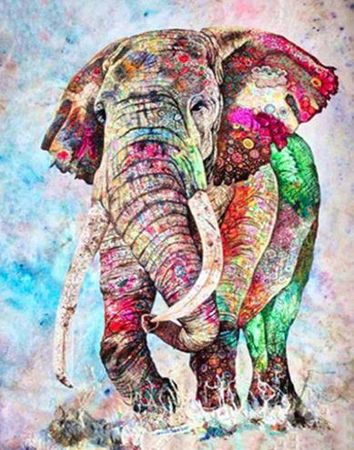 Colors Elephant - Paint by numbers canvas for adults from paint pots