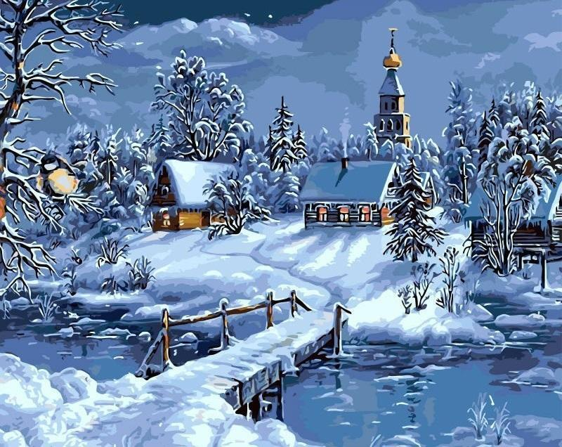 Dark Snowy Night Scenery paint by numbers canvas for adults from paint pots