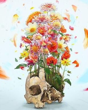 Depict A Skull Of Flower - Paint by numbers canvas for adults from paint pots
