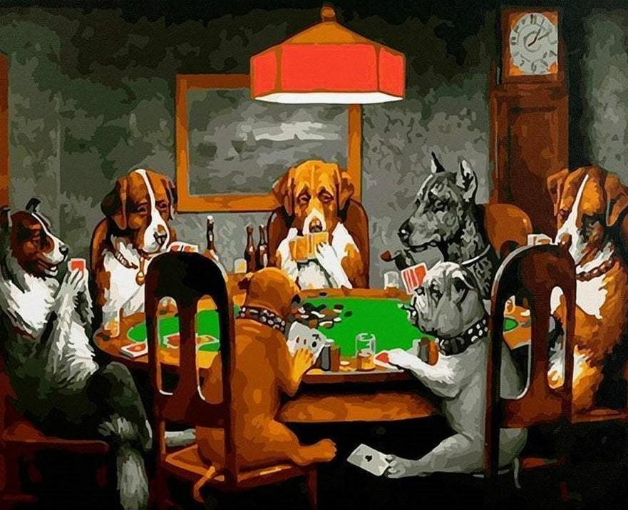 Dogs Playing Poker paint by numbers canvas for adults from paint pots
