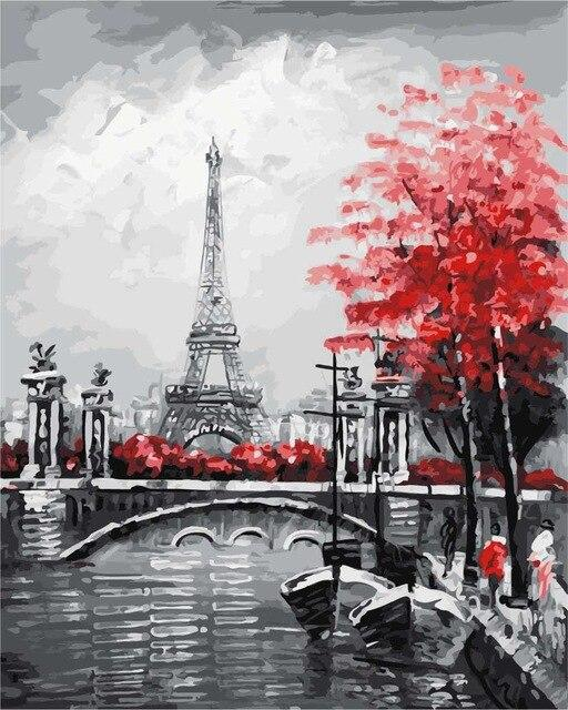 Eiffel Tower In Spring - Paint by numbers canvas for adults from paint pots