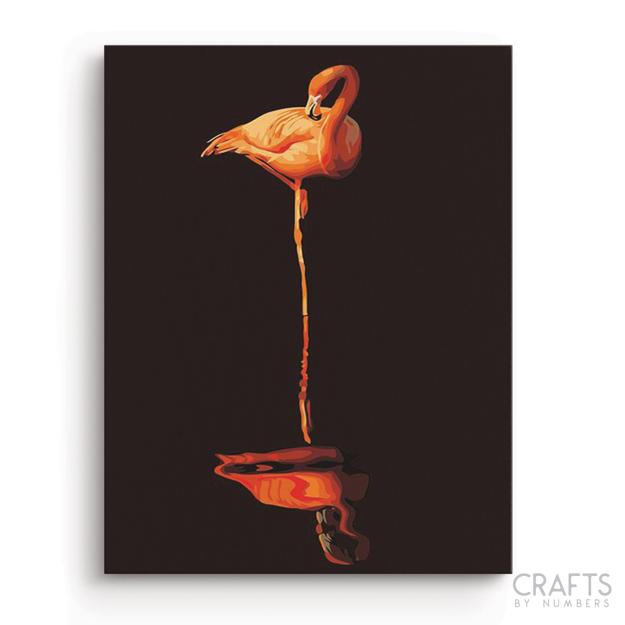 Flamingo Reflector Art paint by numbers canvas for adults from paint pots