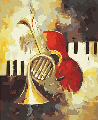 Guitar and Trumpet Oil Painting paint by numbers canvas for adults from paint pots