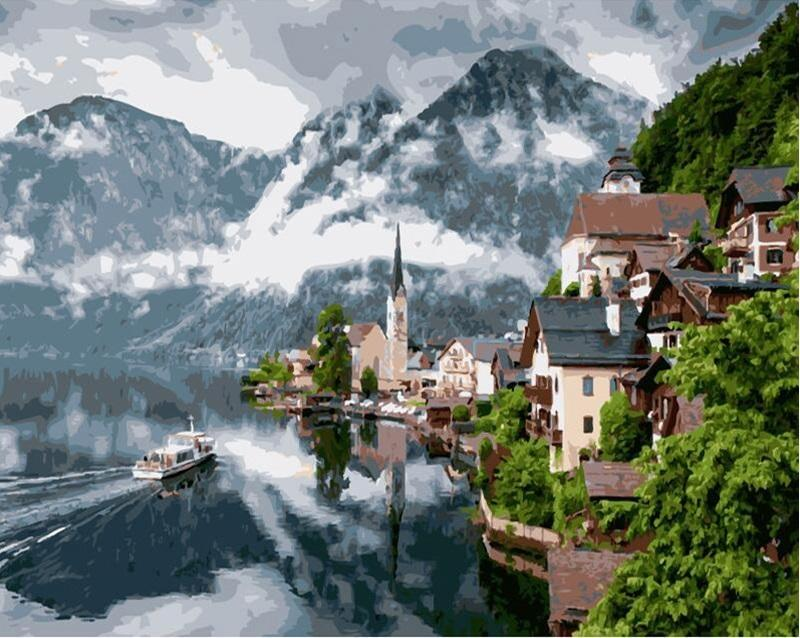 Hallstatt Fairytale Town Austria paint by numbers canvas for adults from paint pots