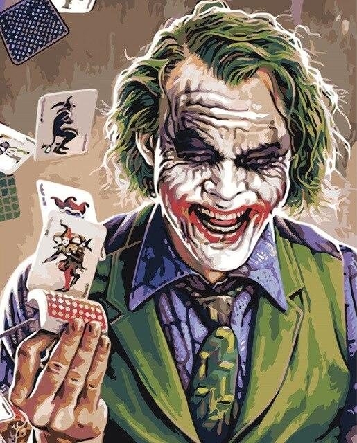 Joker With Joker Card - Paint by numbers canvas for adults from paint pots