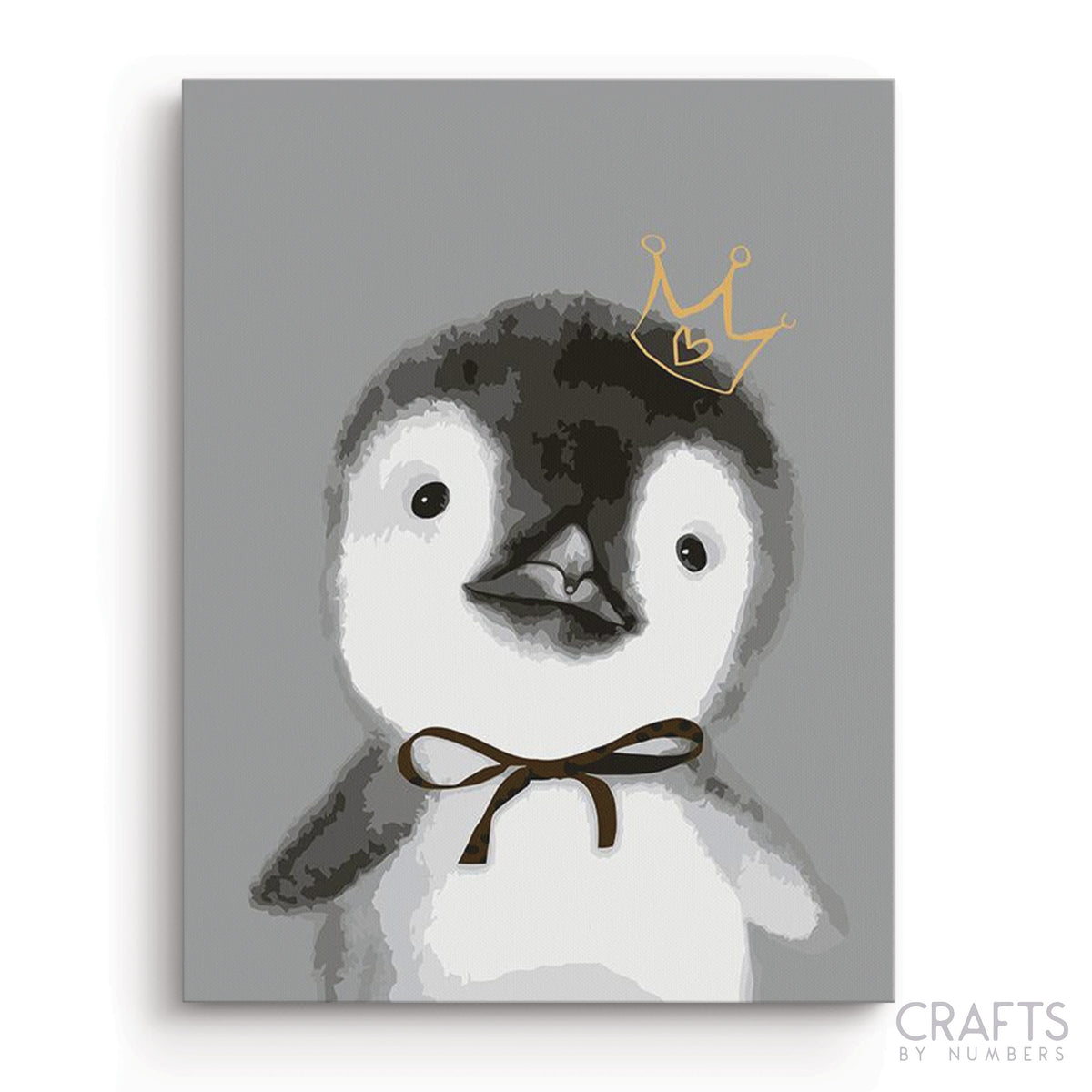 Little Emperor Penguin paint by numbers canvas for adults from paint pots