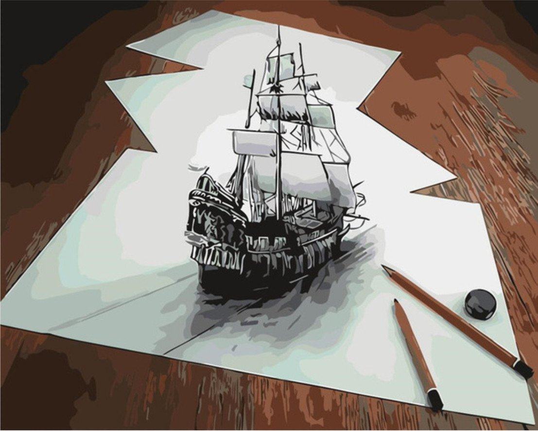 Optical Illusion Ship Sketch paint by numbers canvas for adults from paint pots