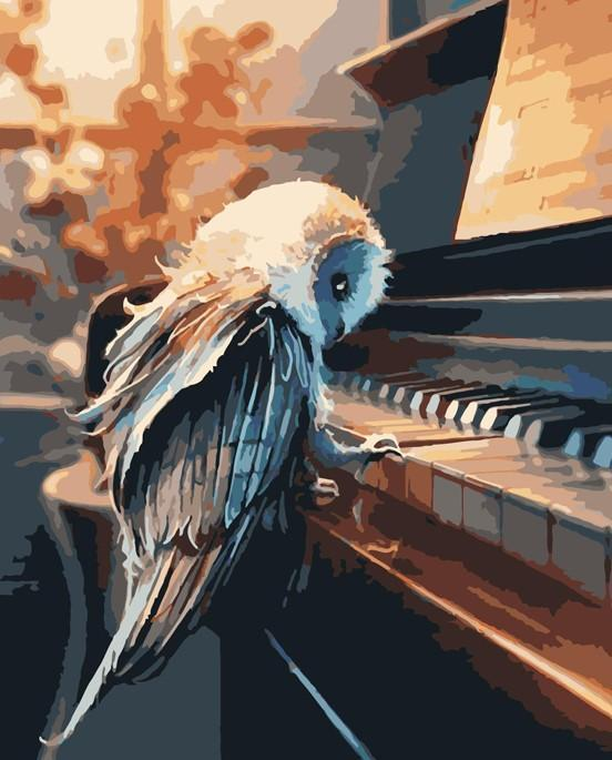 Piano Lesson with owl Artwork paint by numbers canvas for adults from paint pots