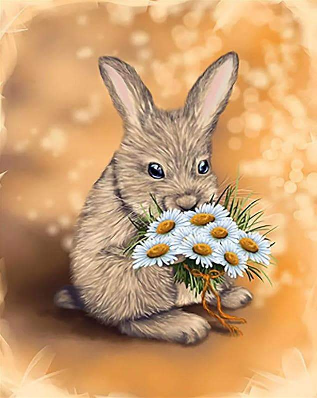 Rabbit Holding Flowers - Paint by numbers canvas for adults from paint pots