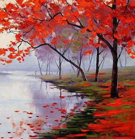 Red Flowers Lake View - Paint by numbers canvas for adults from paint pots