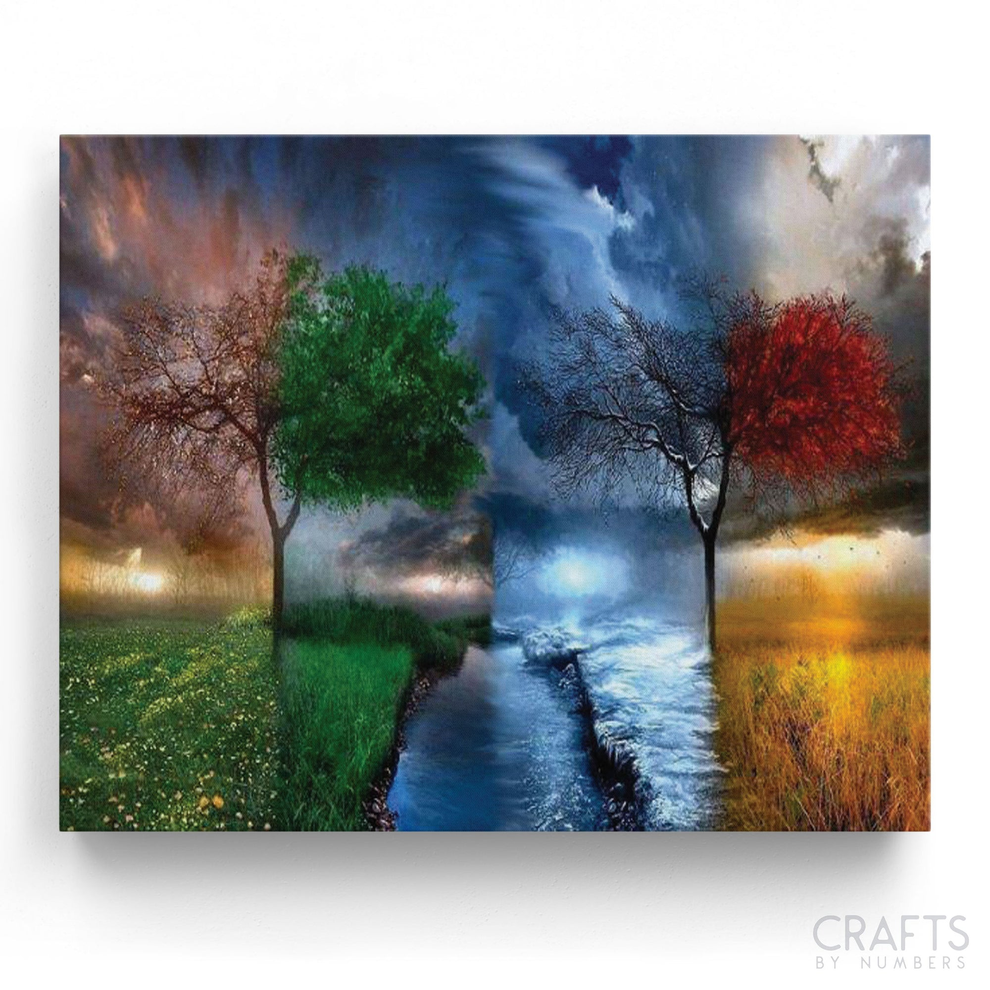 Rotating Seasons paint by numbers canvas for adults from paint pots