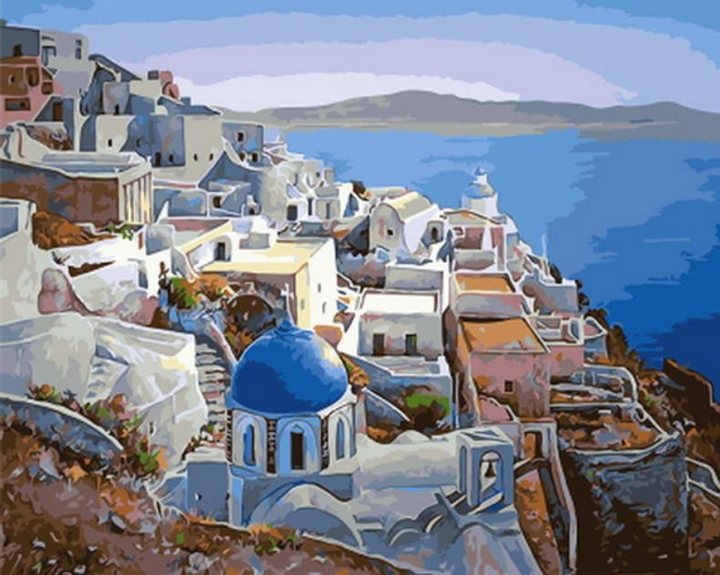 Santorini Watercolor Landscape paint by numbers canvas for adults from paint pots