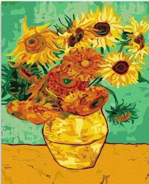 Sunflowers vincent van gogh paint by numbers canvas from paint pots