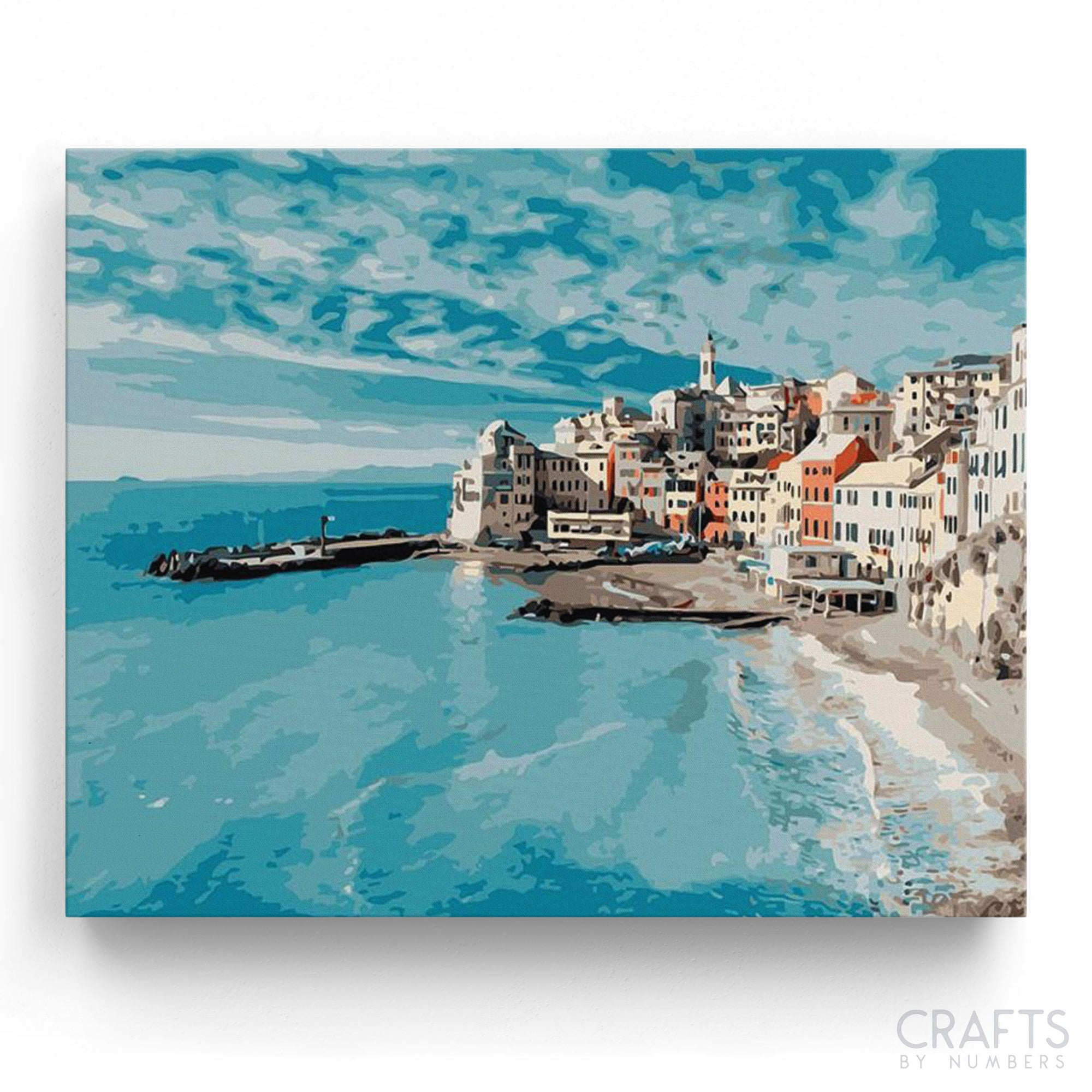 The Blue Ocean City of Italy paint by numbers canvas for adults from paint pots