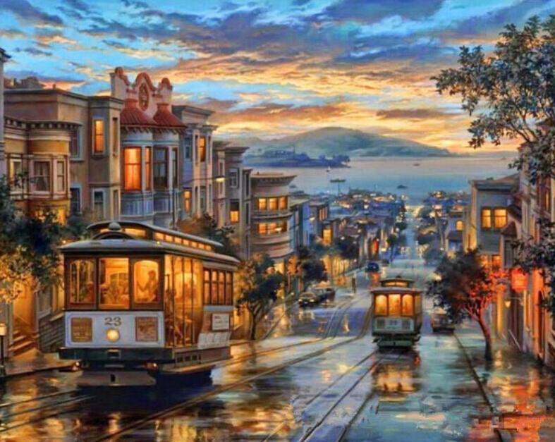 Town View in San Francisco paint by numbers canvas for adults from paint pots