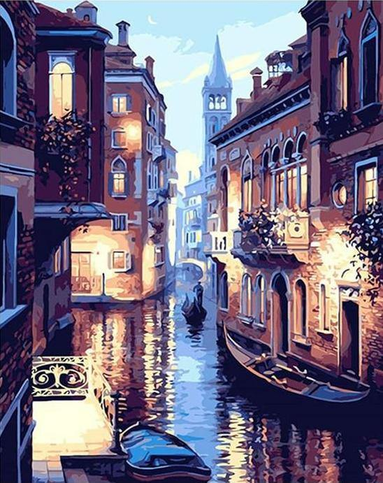 Venice night landscape paint by numbers canvas from paint pots