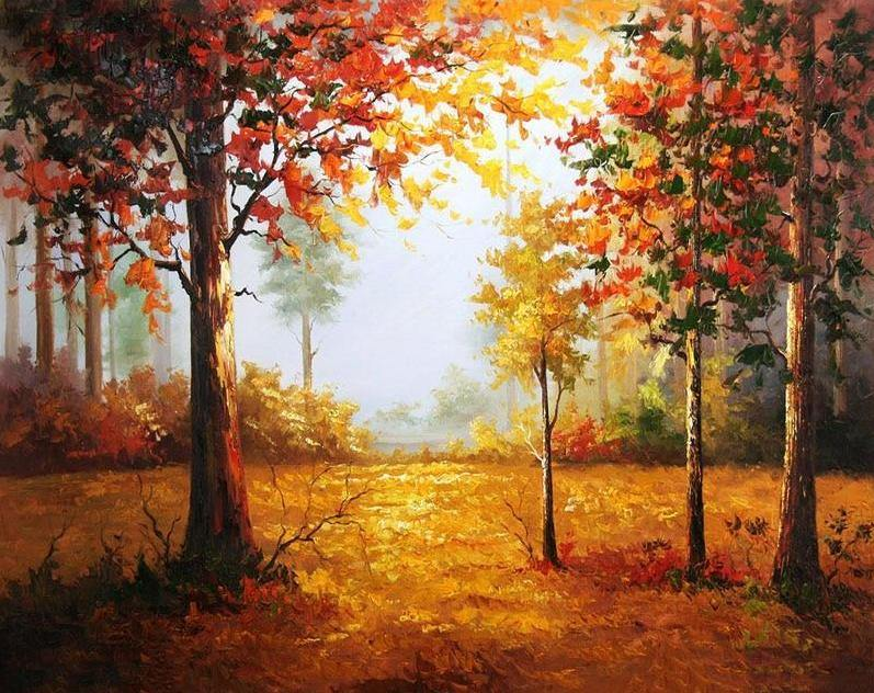 Forest in autumn paint by numbers canvas for adults from paint pots