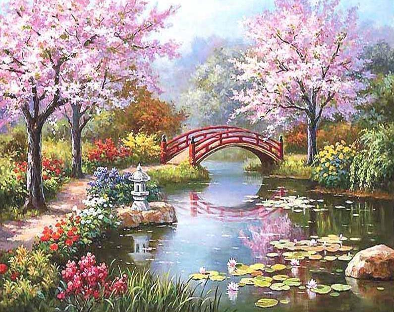 River watertight with blossoms and bridge paint by numbers canvas from paint pots