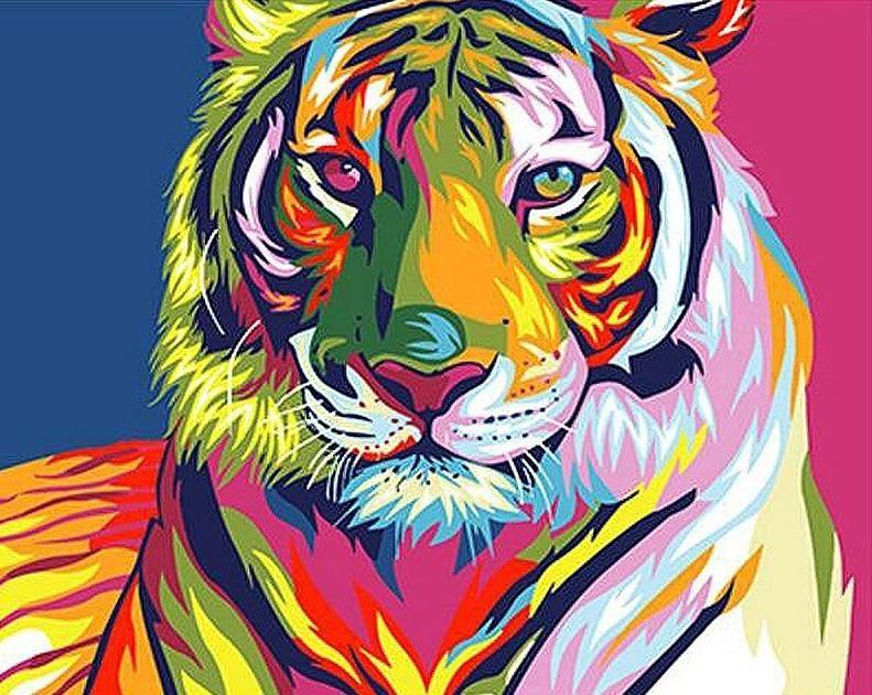 Neon tiger paint by numbers canvas for adults from paint pots