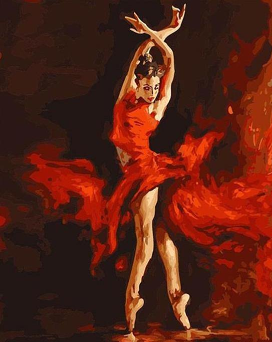Flamenco Dancer paint by numbers canvas for adults from paint pots