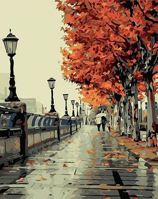 Autumn Walk - The Paint Pots - Paint by numbers kits - Paint by numbers for adults