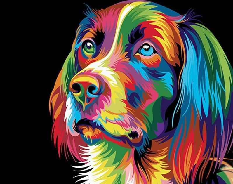 Neon dog paint by numbers canvas for adults from paint pots