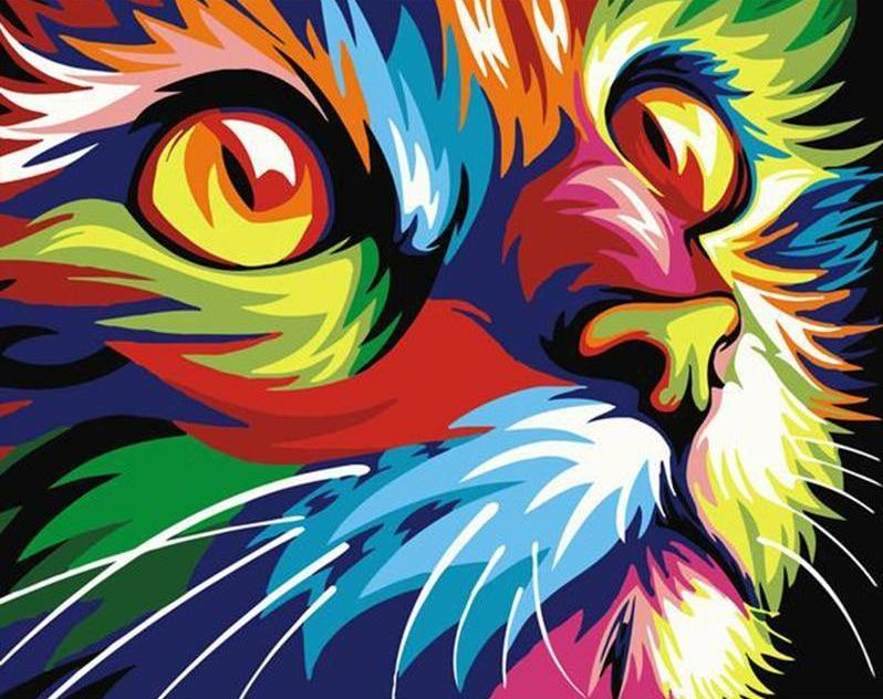 Neon cat paint by numbers canvas for adults from paint pots
