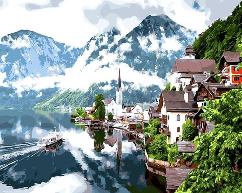 Water town with mountains paint by numbers canvas from paint pots