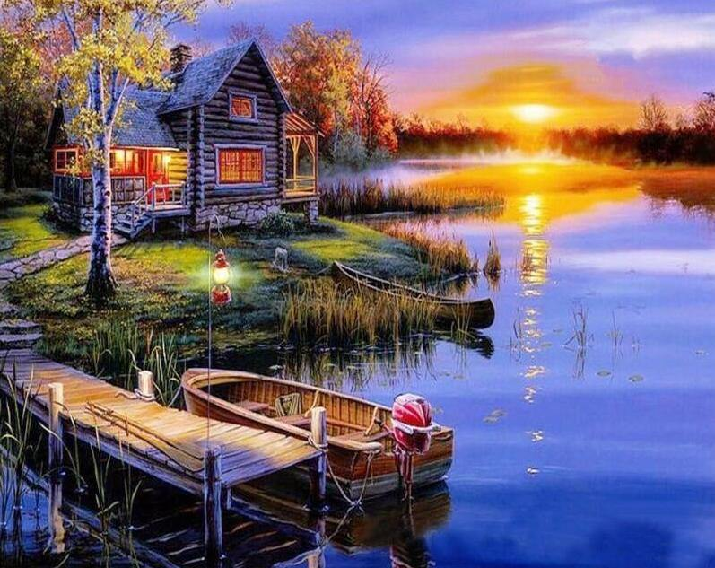 House Dock Sunset pain by numbers canvas from paint pots