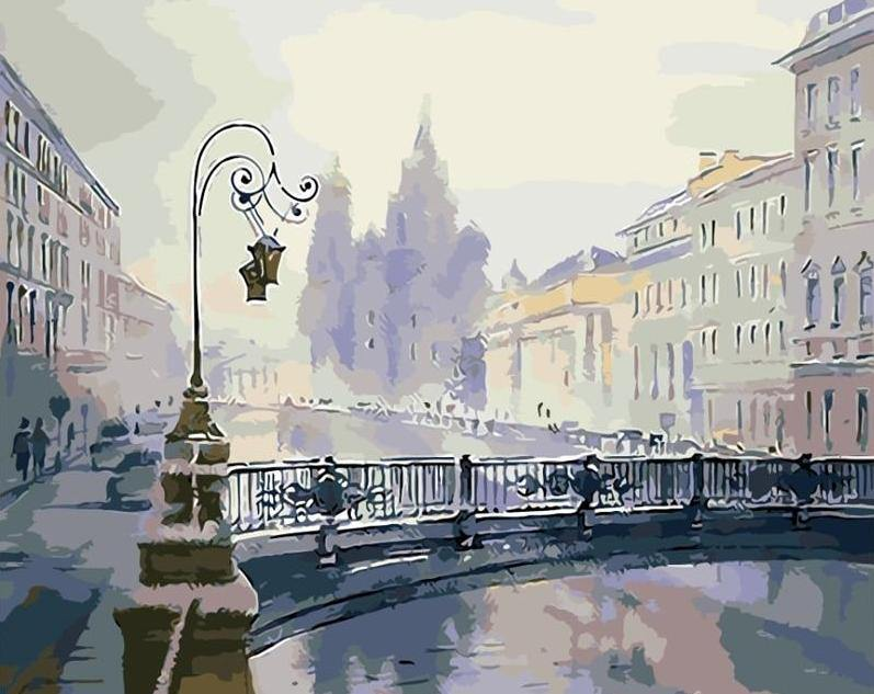 City Bridge Landscape paint by numbers canvas for adults from paint pots