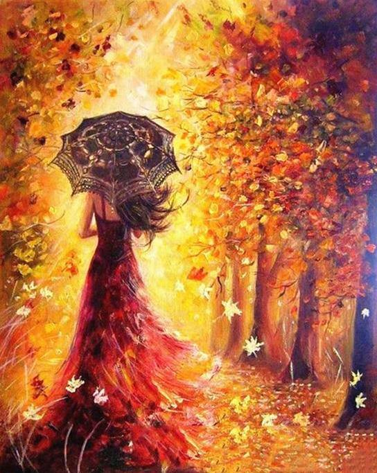 Beautiful Women Autumn - The Paint Pots - Paint by numbers kits - Paint by numbers for adults
