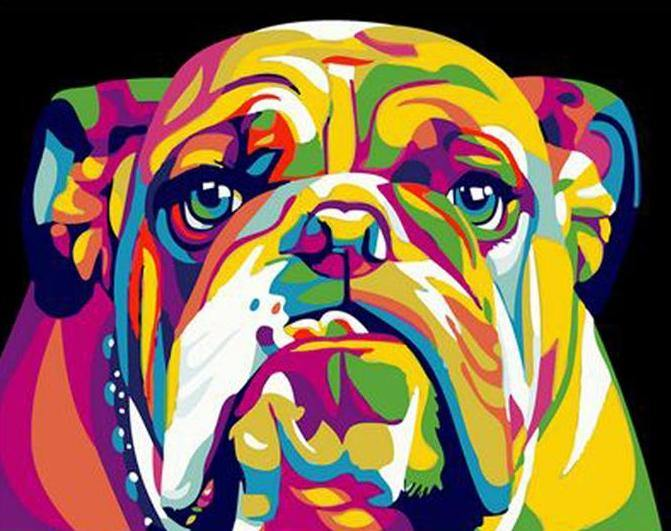Neon Bulldog - The Paint Pots - Paint by numbers kits - Paint by numbers for adults