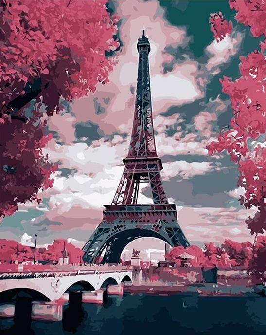 Eiffel Tower Landscape paint by numbers canvas for adults from paint pots