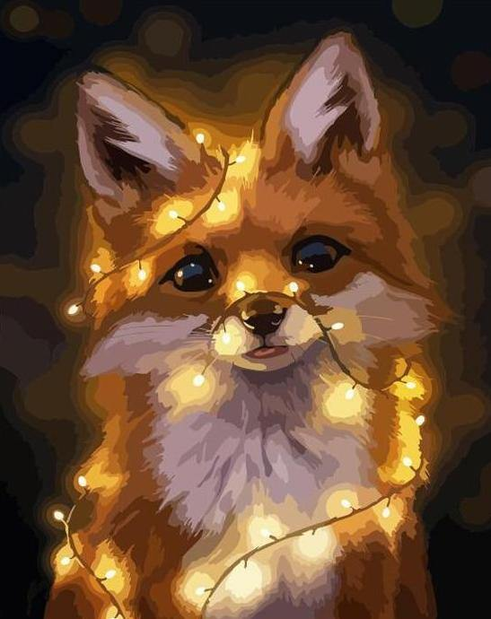 Lighted fox paint by numbers canvas for adults from paint pots