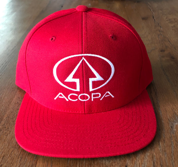 Red Acopa Hat with White Embroidered Logo