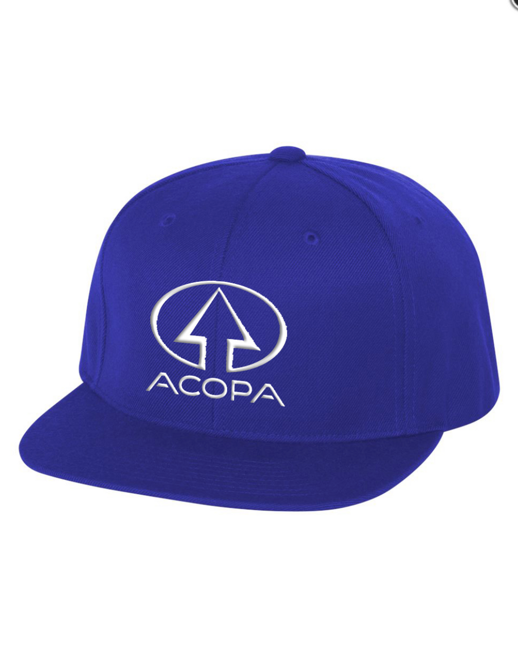 Blue Acopa Hat with White Embroidered Logo