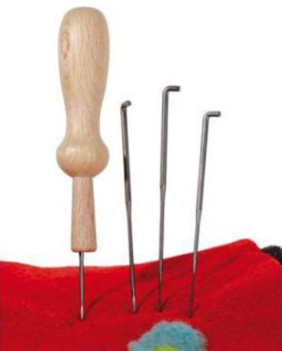 Felting Needles Set + Wooden Holder