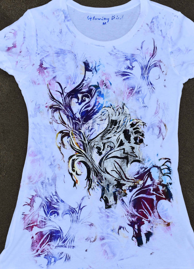 Abstract Butterfly Layered Art On White T-Shirt