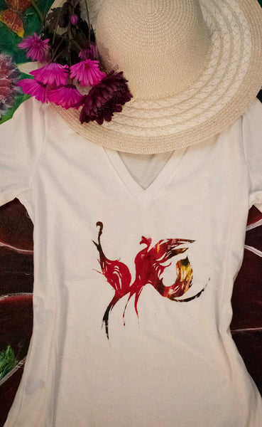 Dancing Birds Fire Colors White T-Shirt