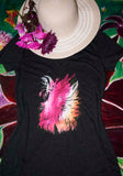 Night Fly Black Triblend T-Shirt Hot Pink Color Medium